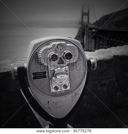 Coin operated binoculars, Golden Gate bridge, San Francisco