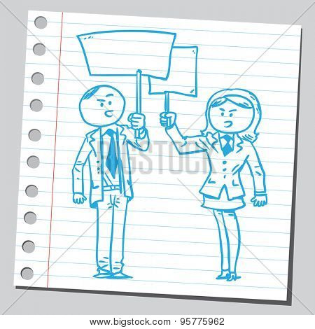 Businesswoman and businessman protesting