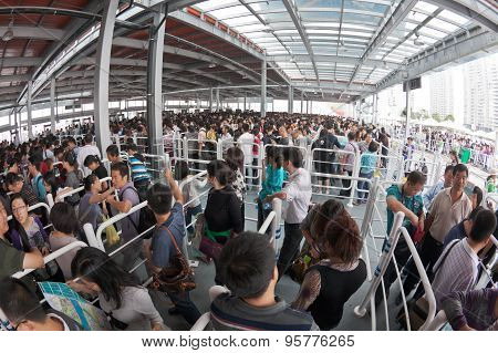 Crowd queuing up outside entrance of World Expo in Shanghai
