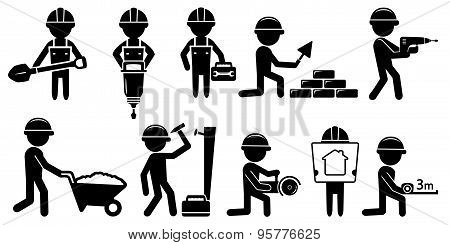 builders set with tools on white background