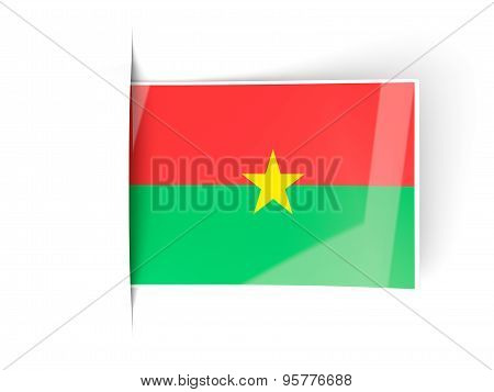 Square Label With Flag Of Burkina Faso