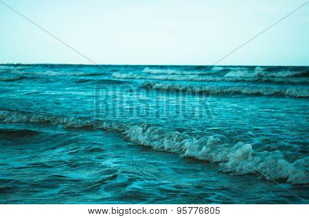 Sea Waves With Foam