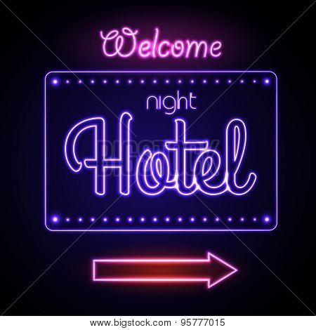 Neon Sign. Night Hotel