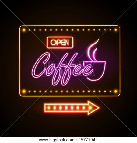 Neon Sign. Coffee