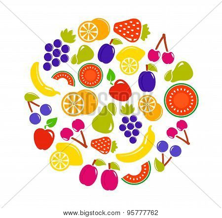 fruit objects in round