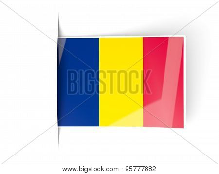 Square Label With Flag Of Chad