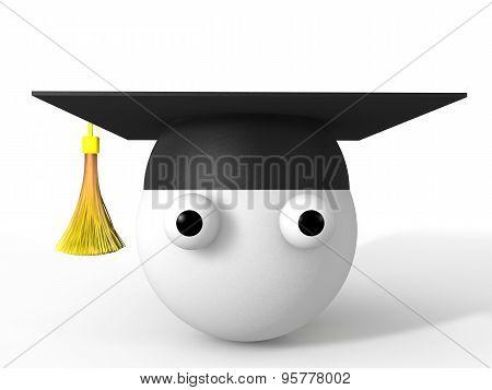 3d graduation hat and cartoon