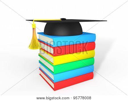 3d graduation hat and books