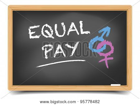 detailed illustration of a blackboard with Equal Pay text and gender symbols, eps10 vector, gradient mesh included