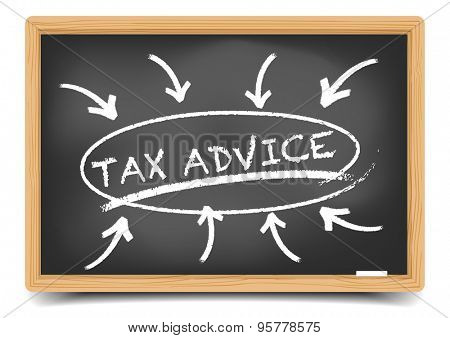 detailed illustration of a blackboard with a Tax Advice focus sketch, eps10 vector, gradient mesh included