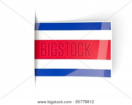 Square Label With Flag Of Costa Rica
