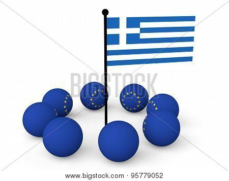 3d European spheres and greece flag
