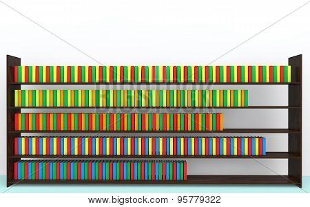 3d bookshelf and books