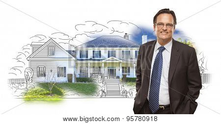 Man Wearing Suit and Neck Tie Over House Drawing and Photo Combination on White.