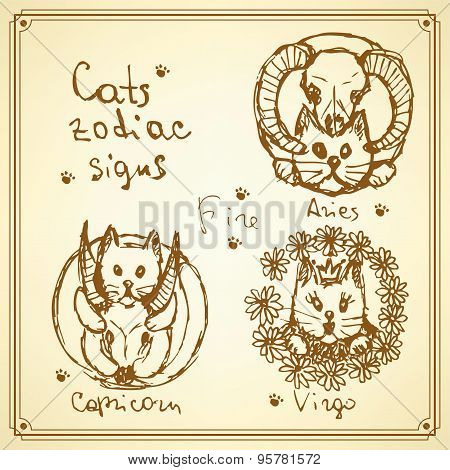 Sketch Cats Zodiac Signs In Vintage Style