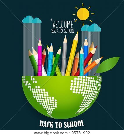 Welcome back to school with globe and Color pencils background, vector illustration.