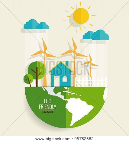 ECO FRIENDLY. Ecology concept, vector illustration.