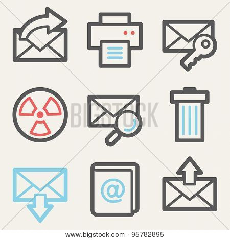 E-mail web icons, square buttons