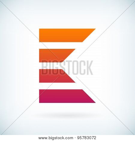 Stripes Letter K Icon Design Element Template