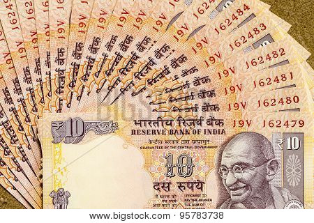 Indian ten rupees note arranged in sequence and depicting Mahatma Gandhi