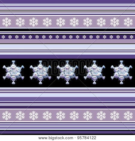 Winter Seamless Pattern - Striped With Snowflake Motif In Violet