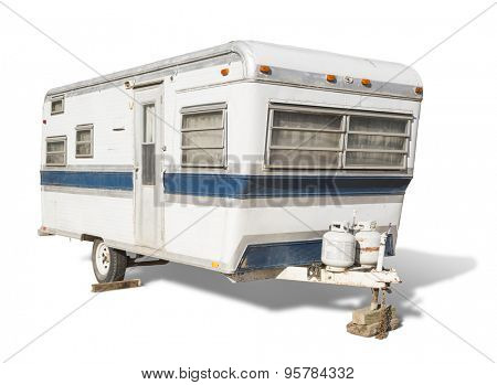 Classic Old Camper Trailer Isolated on White.