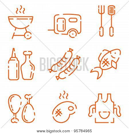 Bbq Line Icons Set On A White Background