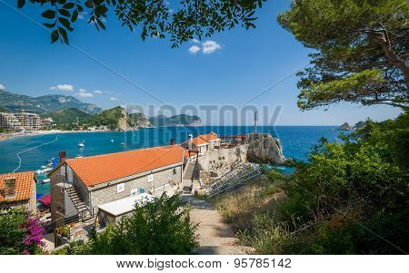Petrovac old town and bay view