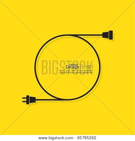 Abstract background with wire plug and socket.
