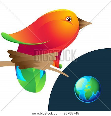 Bird Logo With Nest And Planet
