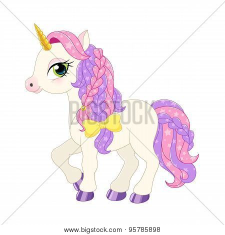 Pink pony illustration.