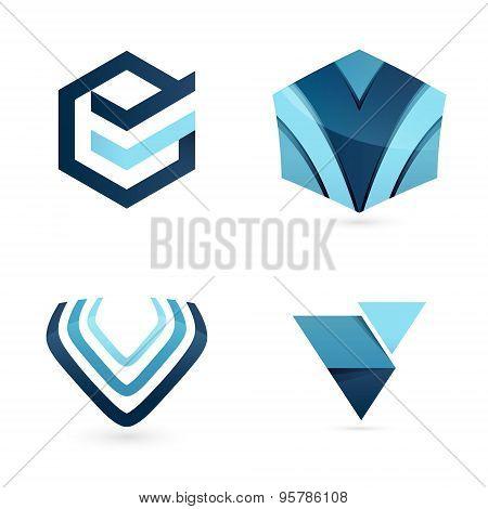 V Letter Logo Set