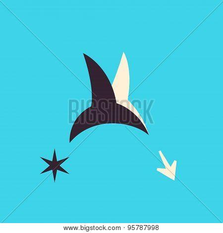 Hummingbird In Flight Volume Character In Vector