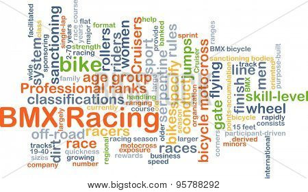 Background concept wordcloud illustration of BMX racing