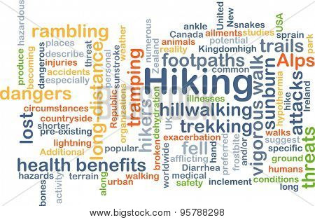 Background concept wordcloud illustration of hiking