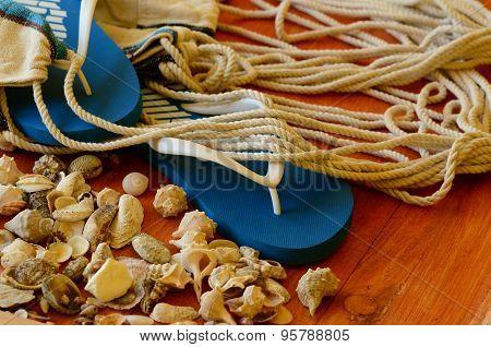 Flip-flops, shells and hammock net on wooden background