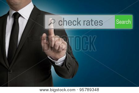 Check Rates Internet Browser Is Operated By Businessman