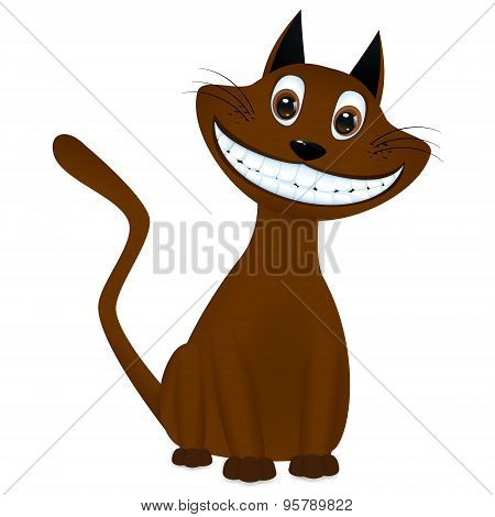 Cute Brown Cartoon Cat Smiling