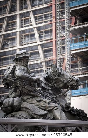 NEW YORK-FEB 2013: The bronze America�s Response Monument, during construction in 2013 of the Freedom Tower at One World Trade Center. It was the first monument dedicated to the US Special Forces.