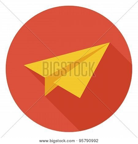 Flat Freelance Paper Plane Circle Icon With Long Shadow