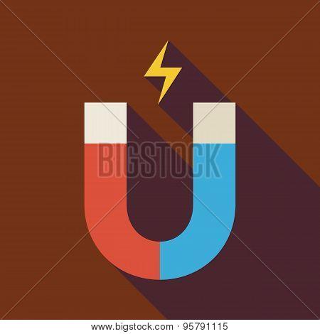 Flat Magnet Illustration With Long Shadow
