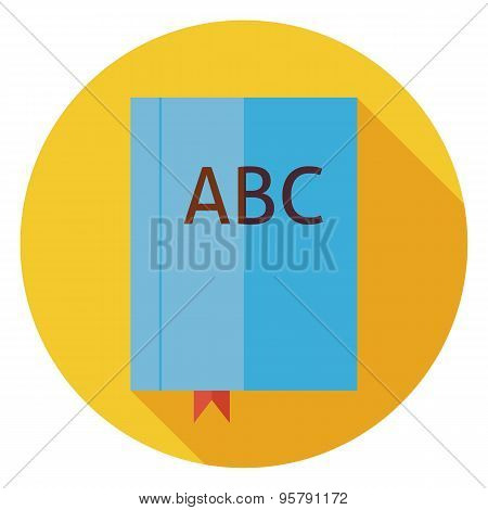 Flat Reading Book With Bookmark Circle Icon With Long Shadow