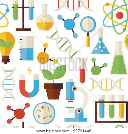 Flat Seamless Pattern Science And Research Objects Over White