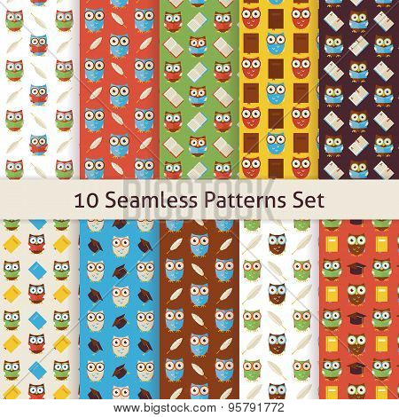 School And Education Owls Flat Seamless Patterns Set