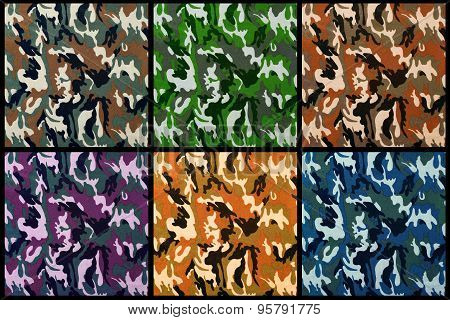Set Of Exotic Color Camouflage As Background