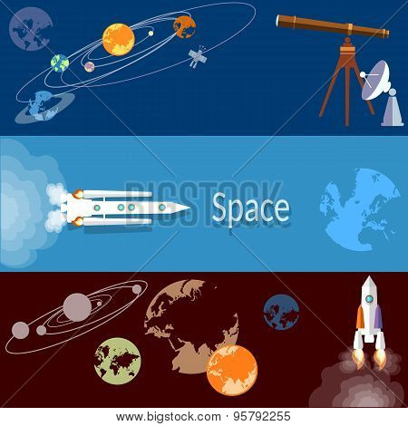 Space Concept: Rockets, Spaceships, Technology, Planets, Orbits, Flat Vector Banners