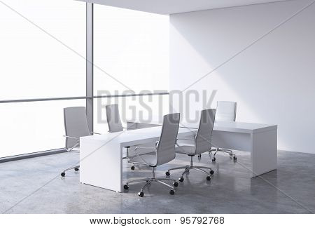 Modern Office Interior With Huge Windows And Cope Space Panoramic View. White Leather On The Chairs