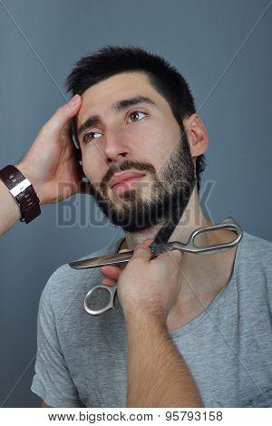 Beard trimming studio shoot