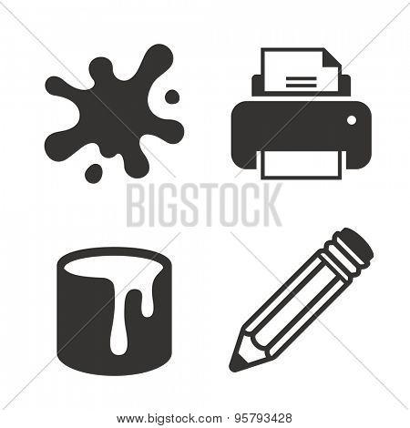 Paint splash spot, printer, paint tin, pencil vector icon set. Print concept symbols.