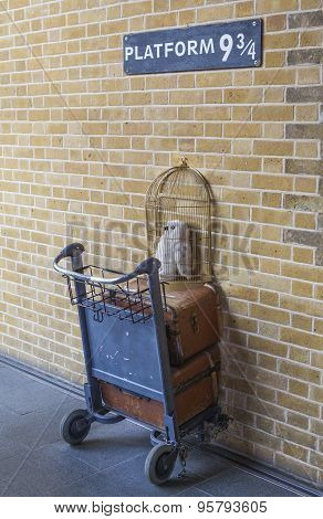 The Harry Potter Platform At Kings Cross Train Station In London
